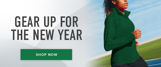 Picture of woman running. Gear up for the new year. Click to shop now.