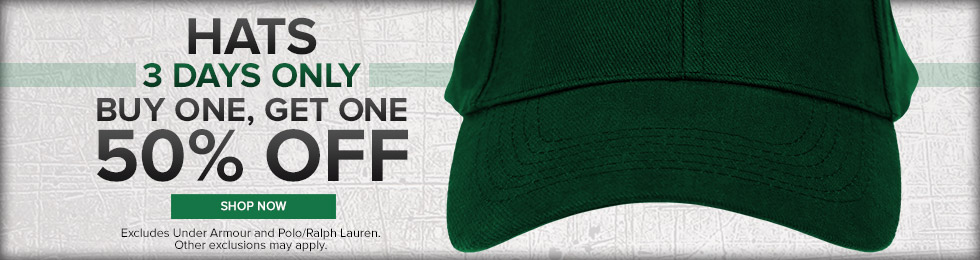 Picture of a hat. Hats 3 days only, buy one get one 50% off. Excludes Under Armour and Polo/Ralph Lauren. Other exclusions may apply. Click to shop for hats now.