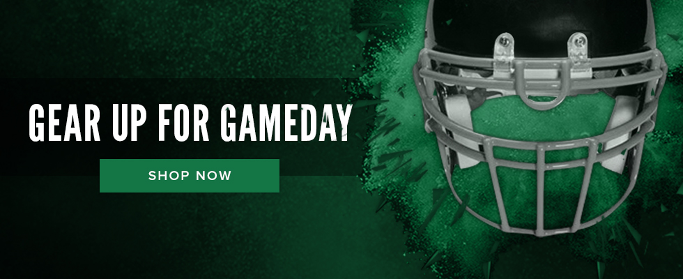 Picture of a football helmet. Gear up for Gameday. Click to shop now.